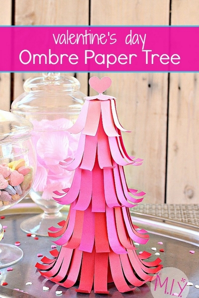 Decorative Valentine's Day Ombré Paper Tree Tutorial -MIY with Melissa
