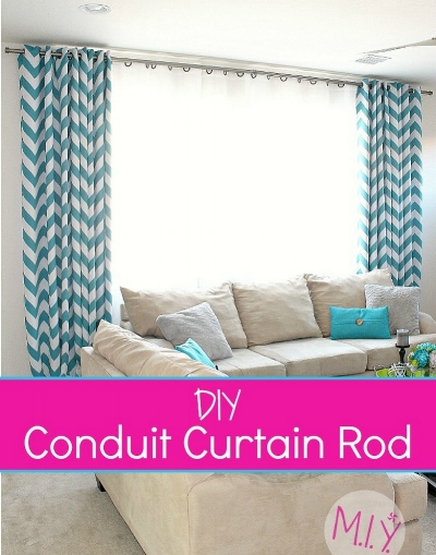 DIY Curtain Rods From Electrical Conduit -MIY with Melissa