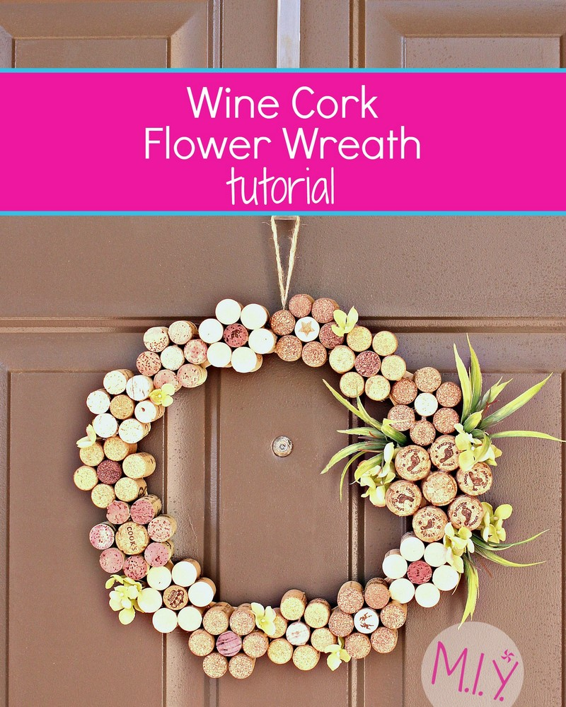 Summer decor wine cork flower wreath make it yours with for Decorative flowers for crafts