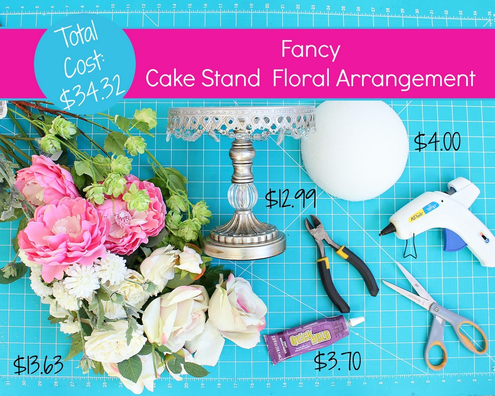 Fancy Cake Stand Floral Arrangement Tutorial -MIY with Melissa