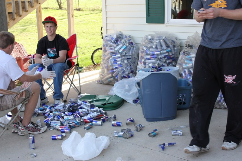 Ethan's Friends Helping cut cans