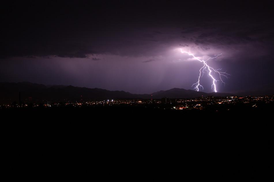 Lightning striking over Tucson