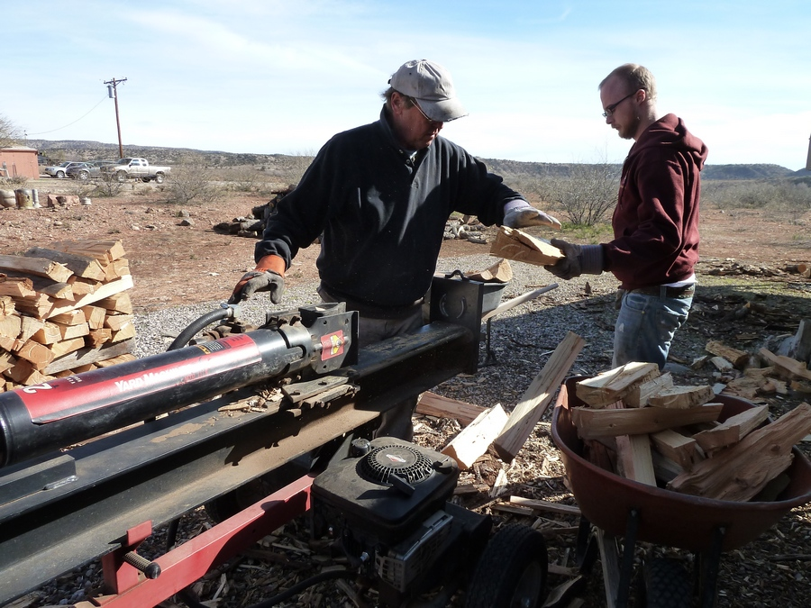 Larry Meagher and Corey Splitting Wood