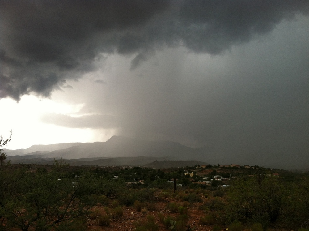The heavy rainfall covering the mountain