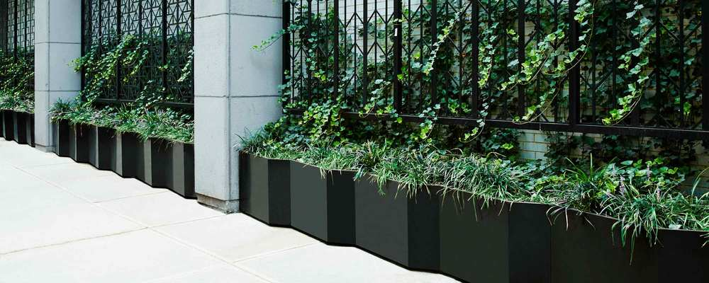West 50th St. Harrison Green Site Screen Matte Black Powder Coated Aluminum