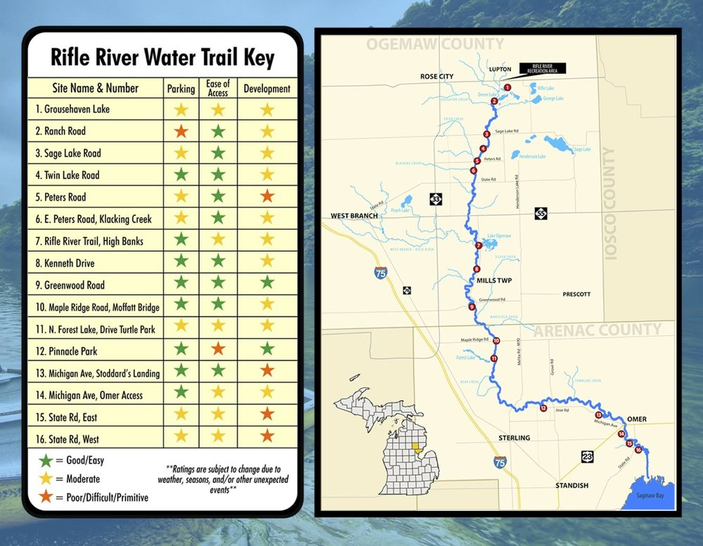 Find public access locations on the Rifle River