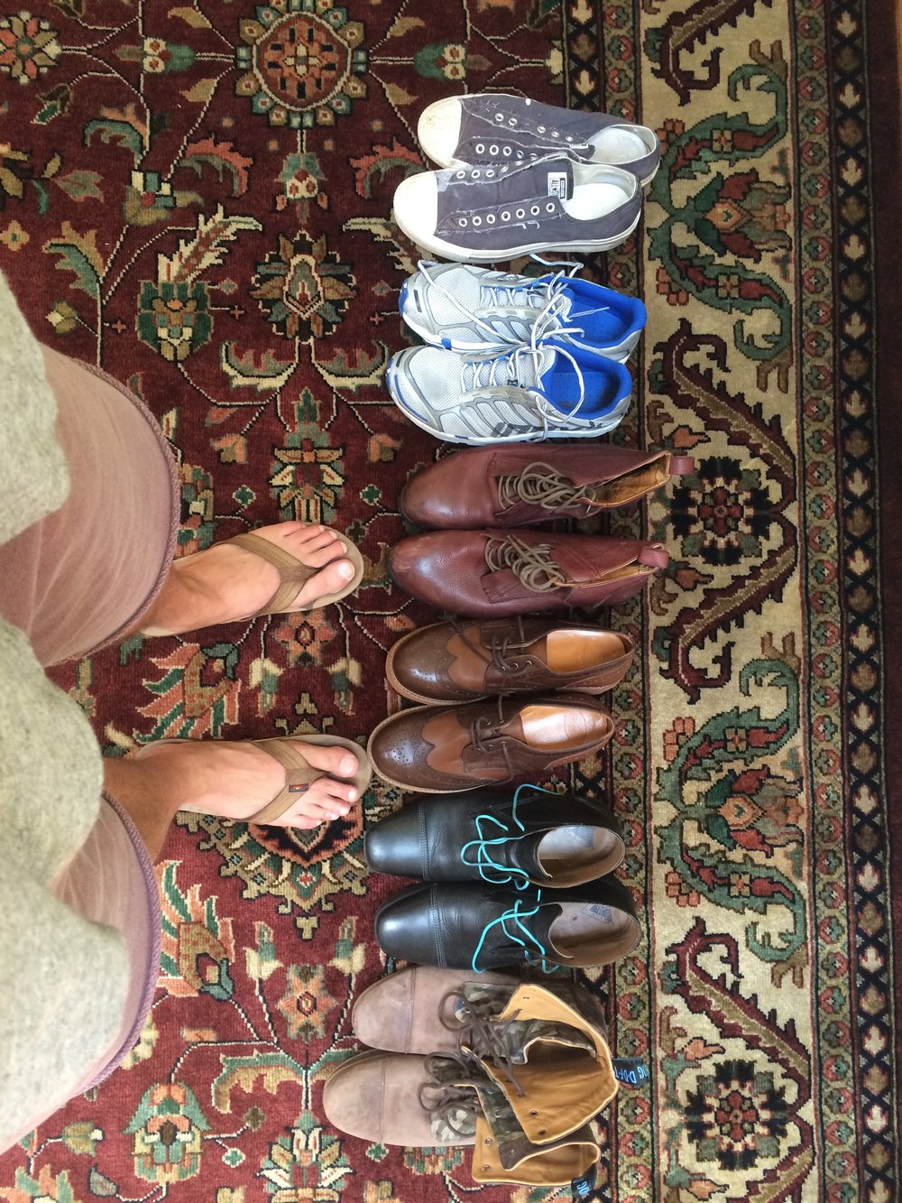 A minimalist guy's shoe collection?