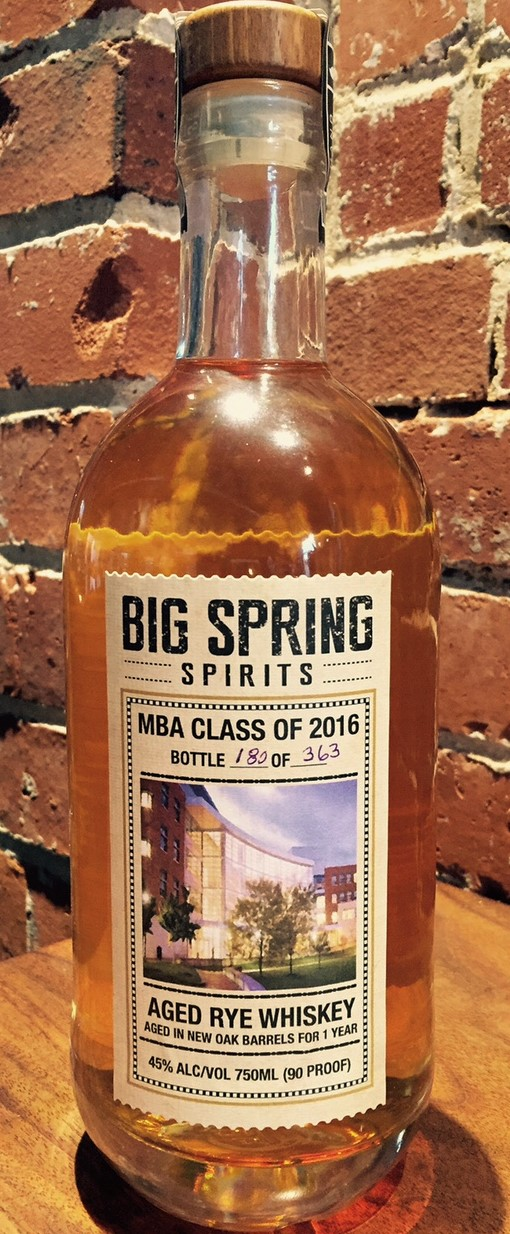 MBA Class of 2016 Barrel-aged Rye Whiskey