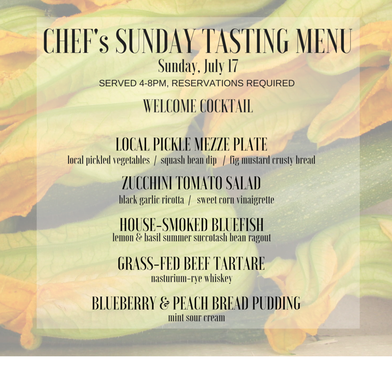 This Sunday, July 17th, Chef Mark will be serving a special 5 course tasting menu in our Tasting Room. Add a flight of our craft spirits to round out your meal!