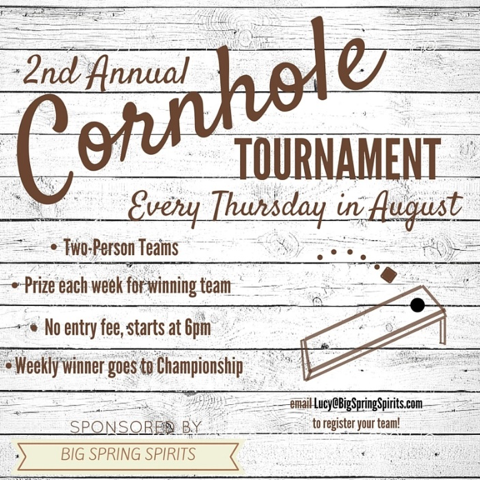 2nd Annual Cornhole Tournament - Every Thursday in August