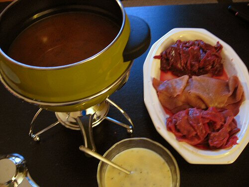 Beef Fondue - With a very special dipping sauce...