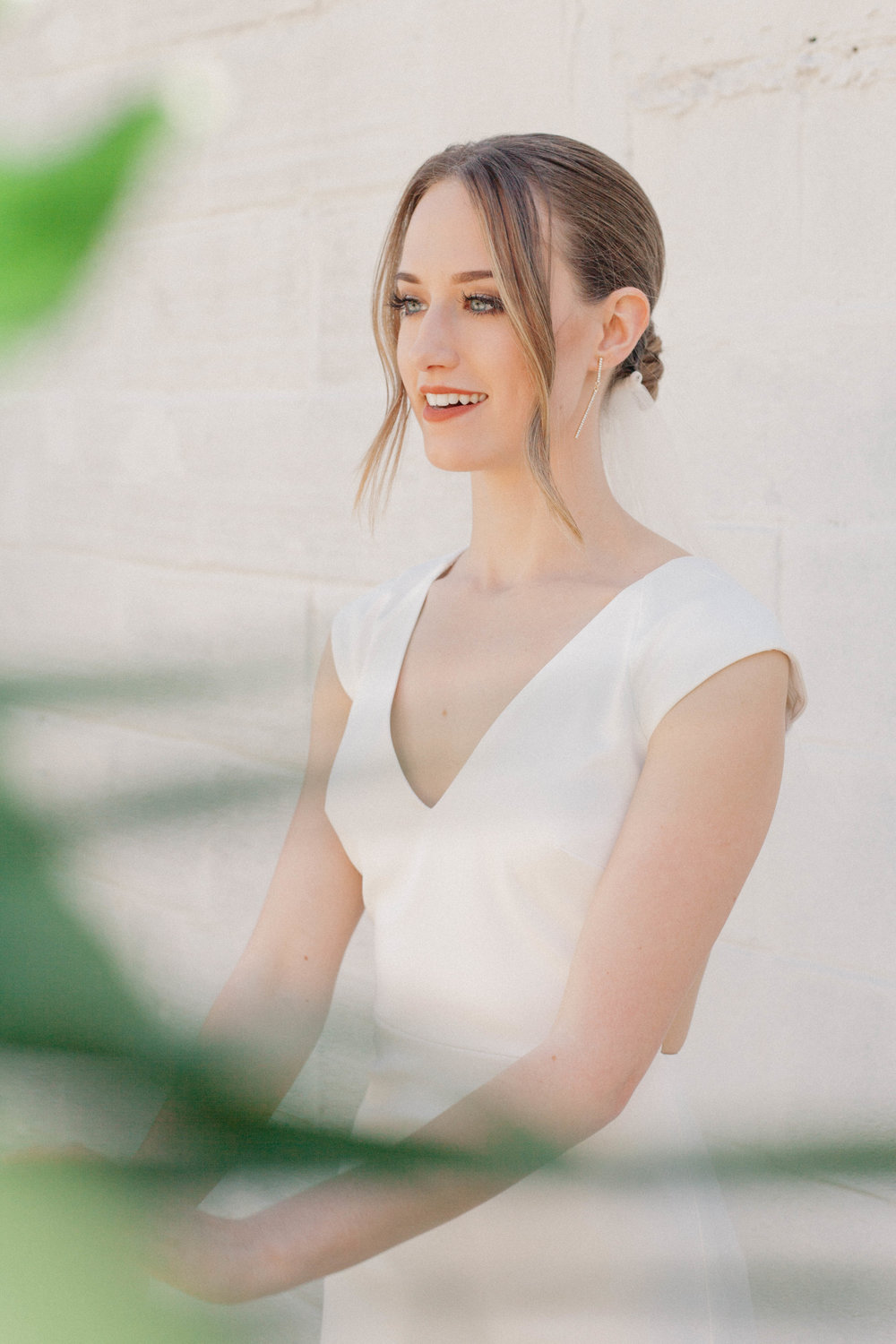 Bridal Portrait with chic and modern wedding dress