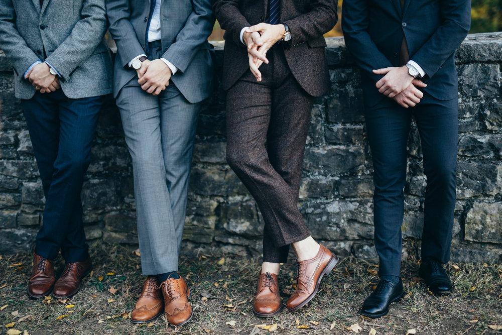 The groom in J Crew Suit