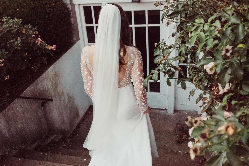 the bride walking to the door