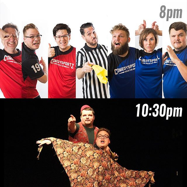 🤣😲🤣 TWO great shows tonight! ComedySportz - Houston's Longest Running Show! brings the funny for audiences of all ages at 8pm! Then, stay for the return of Aladdin: Unscripted at 10:30 for HALF PRICE! One team will win, but you can't possibly lose while spending an evening with us here at CSz Houston 🤣😲🤣 . . #thingstodoinhouston #365houston #houston #houstoncomedy
