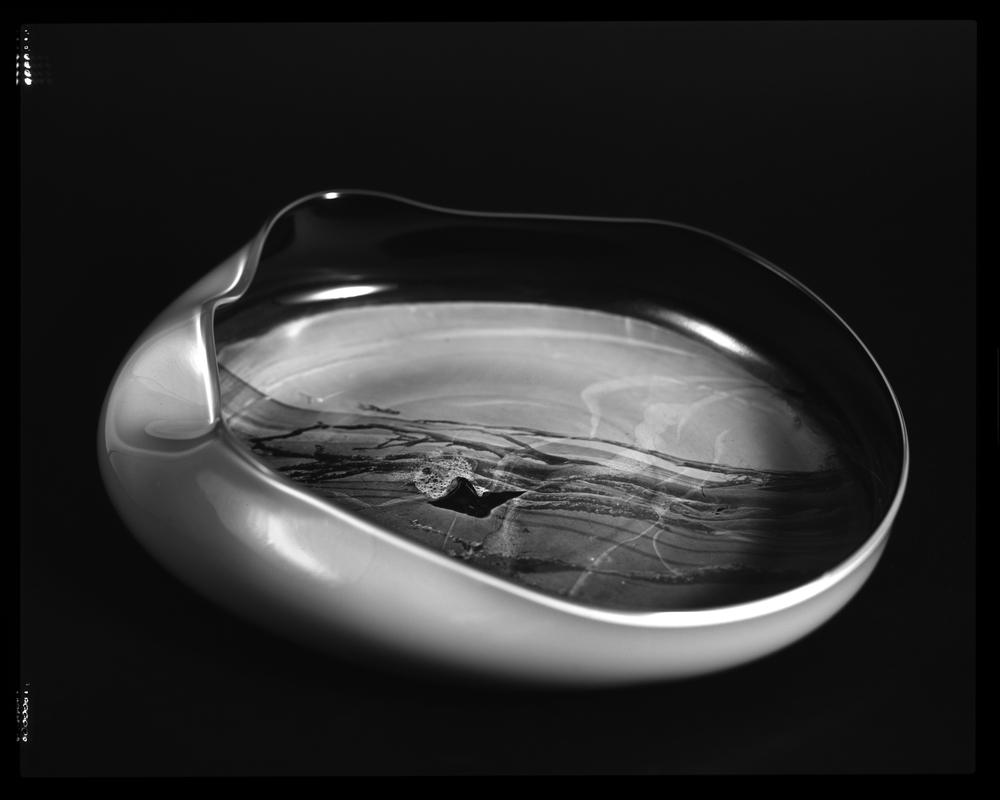 POSITIVE AMBROTYPE - BLACK, IVORY/JADE HANDBLOWN GLASS