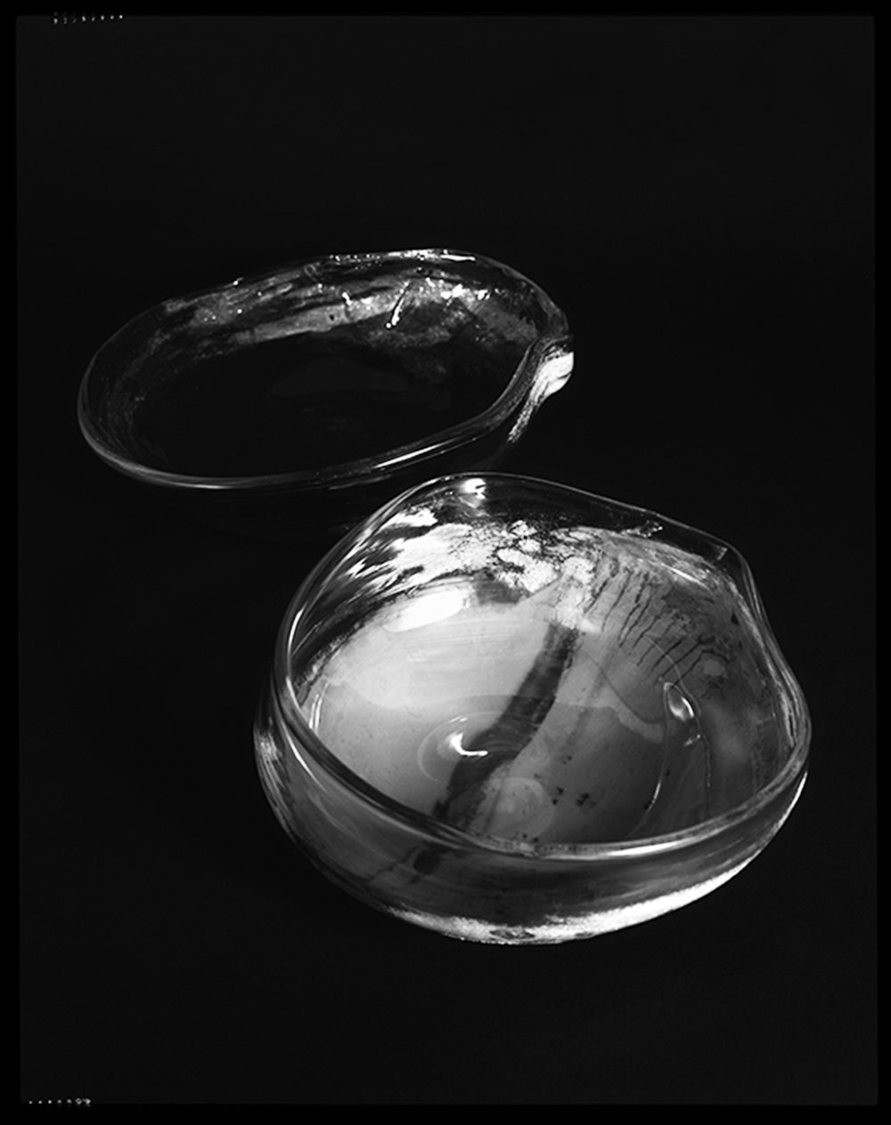 NEGATIVE AMBROTYPE - CLEAR/IVORY HANDBLOWN GLASS