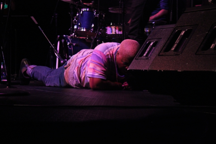 Sharon Udoh of Counterfeit Madison falls to the ground after an emphatic performance at the Wexner Center. (Photos: Zachary Kolesar)