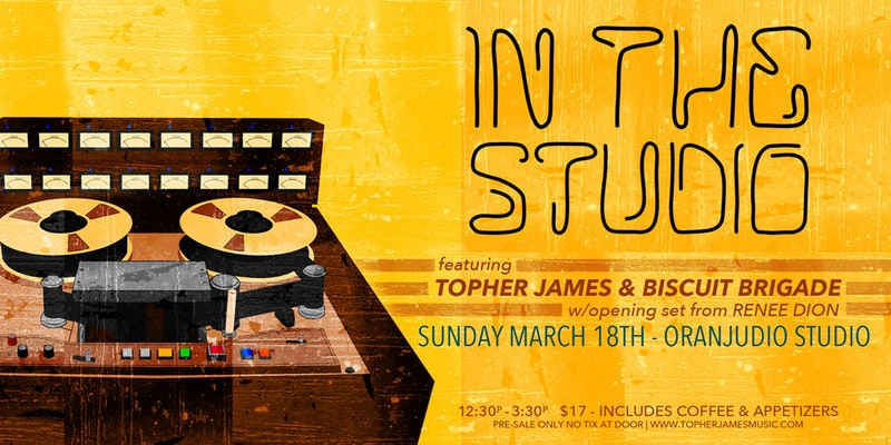 Promotional poster for Topher James' production of In The Studio, which takes places on Sunday, March 18th at Oranjudio Studios. (Promotional photo)