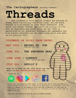 Flier for upcoming The Cartographers' shows, featuring songs off of its latest LP, Threads. (Photo: Courtesy of The Cartographers)