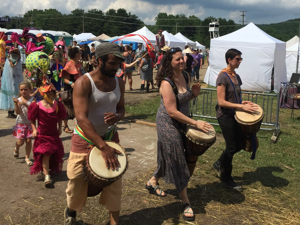 Enthusiastic drummers add a beat for the parade to march to.