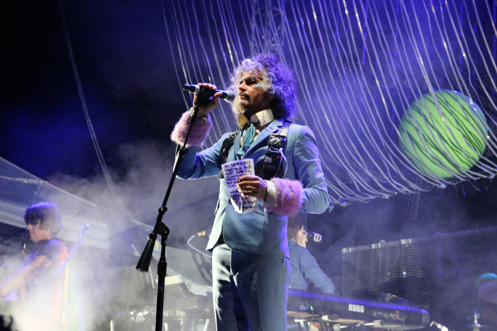 Wayne Coyne of The Flaming Lips headlining at Bellwether Music Festival on Aug. 11. The Flaming Lips closed out day two of the music festival, which took place on the grounds of the Renaissance Festival. (Photo by: Ana Goffe)