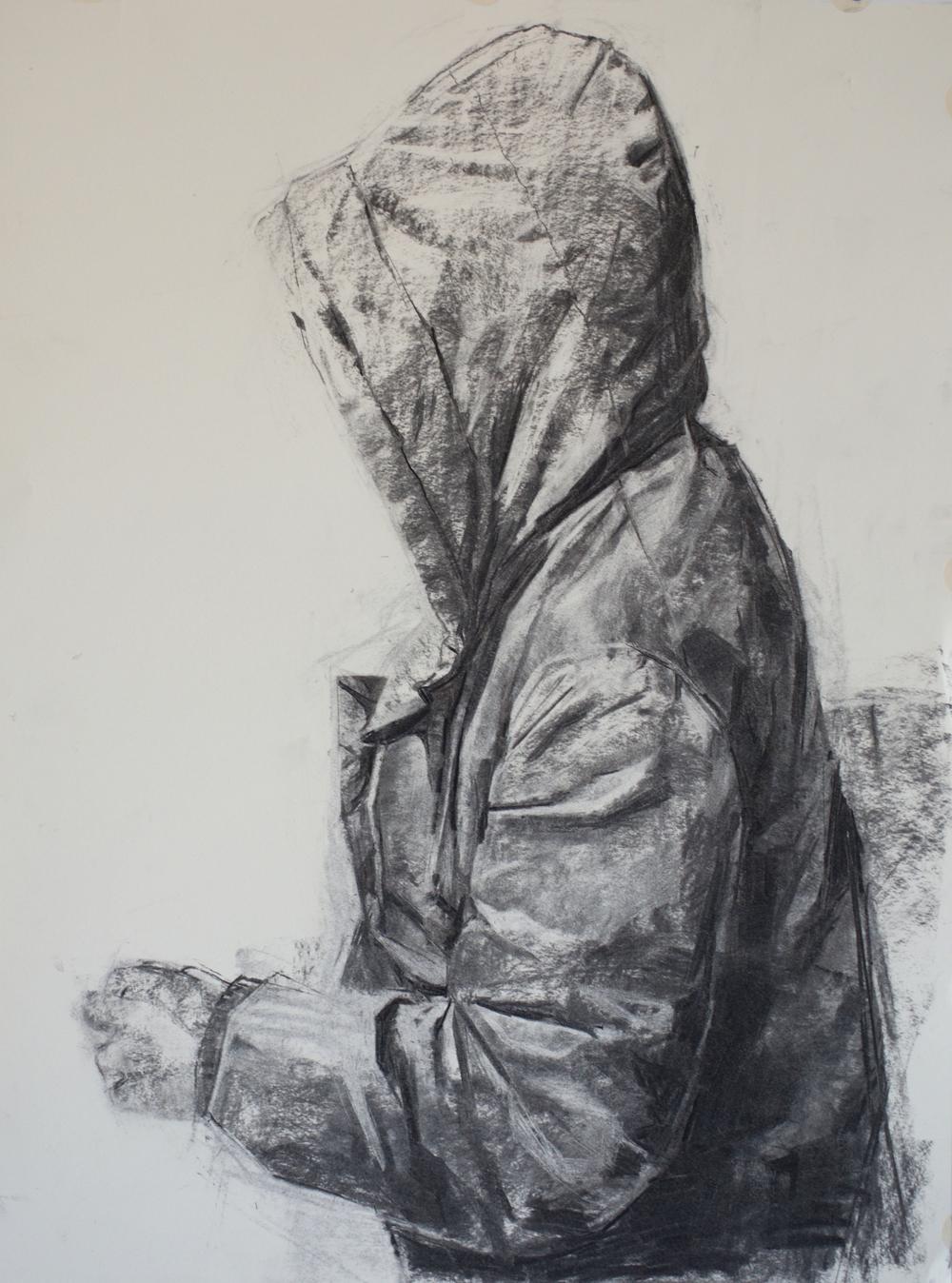 Hoodie Study, charcoal, 18x24 inch, 2016