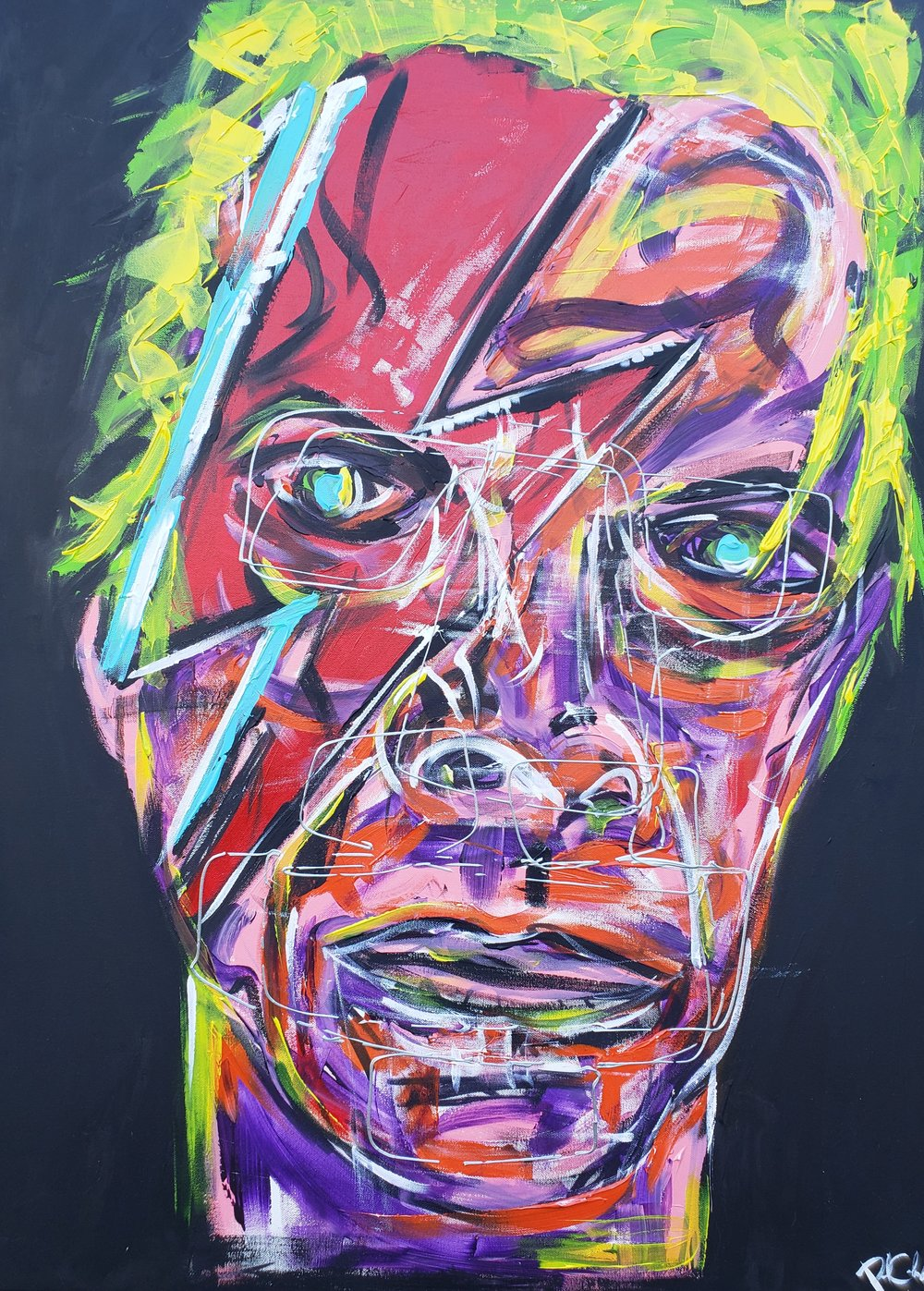 Ziggy Stardust / 24 x 18 / Acrylic / Spray Paint / Marker / 2018.
