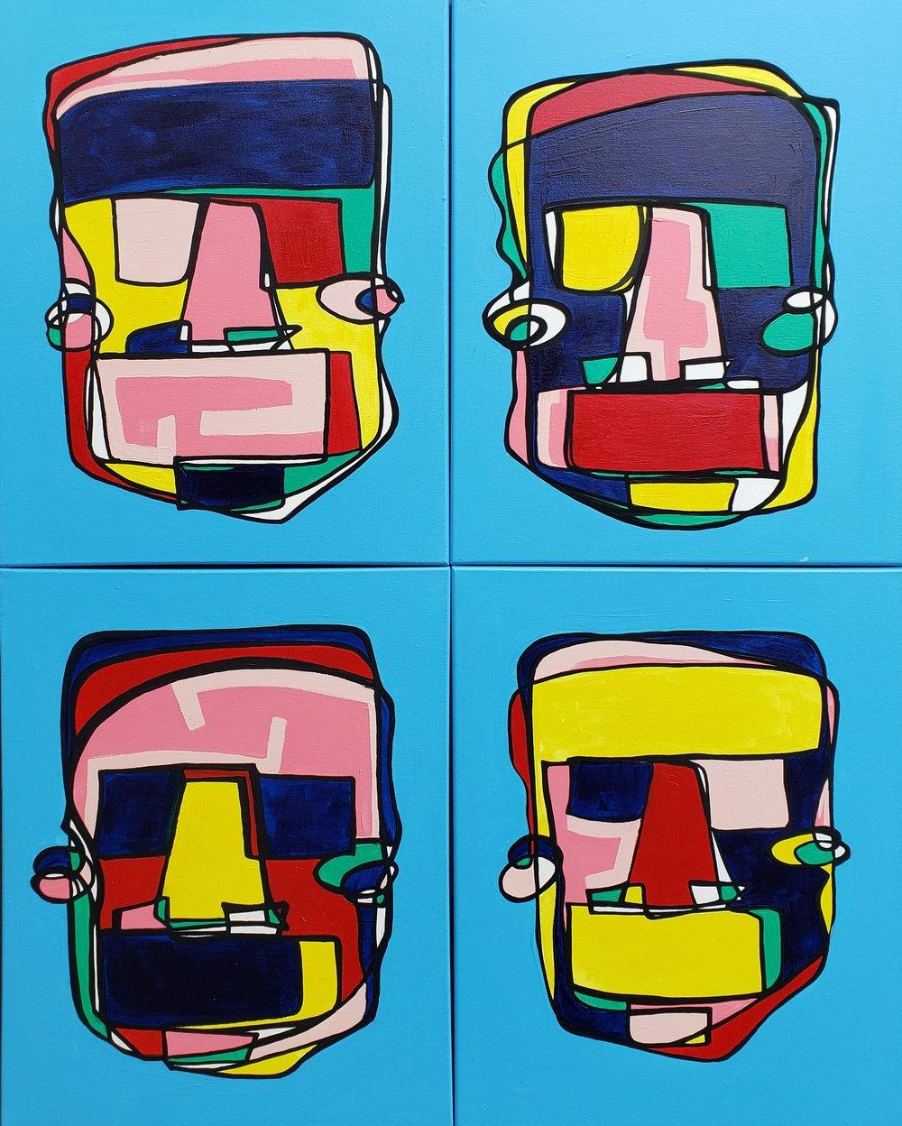 Pastel People /  40 x 32 Set of 4 ( 20 x 16 ) / Mixed Media / 2019
