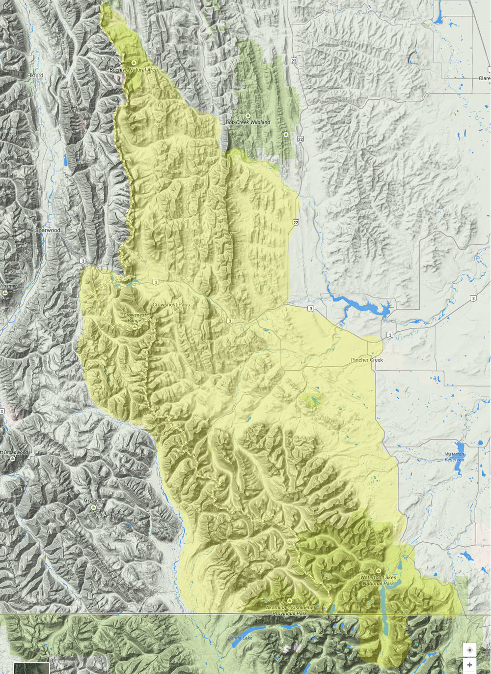 The home range of the Southern Alberta section