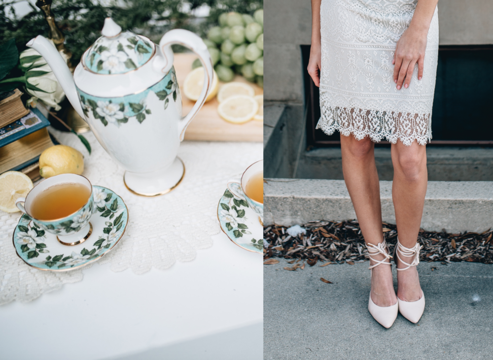 DETAILS  Styling by:  Lucy Bergstrom  Photography by:  Alice Cannon  Lace Skirt by:  Janay Marie  Makeup by:  Rachel Kae Jenkins  Rentals provided by:  Refined Vintage Events  Model:  Josilyn Harsh