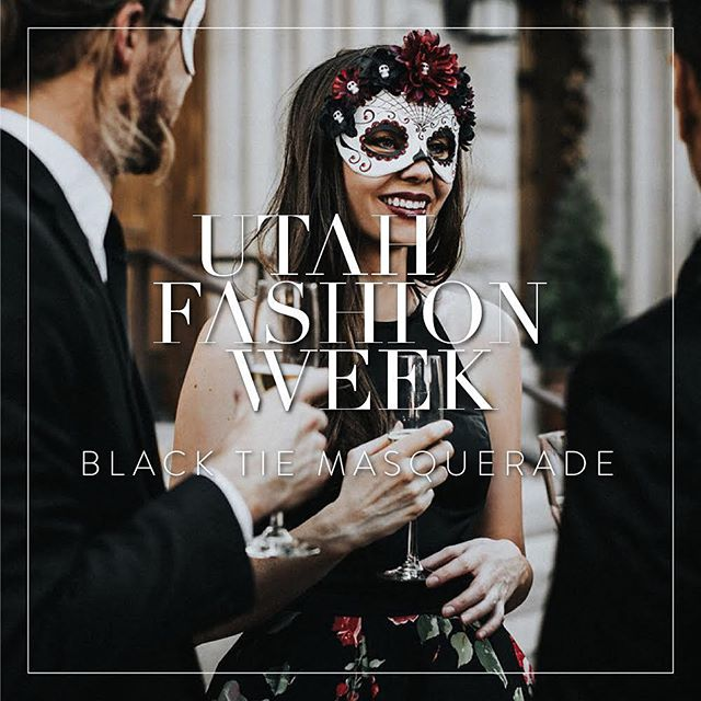 Today is the day! The @UtahFashionWeek Fall Gala - Black Tie Masquerade - is here. If you still need your tickets, don't forget about our UTAHFASHIONINSIDER discount code! Codes can be used online until 6:00 tonight, but cannot be used at the door.  Link to tickets in @utahfashionweek's profile.  See you there!  Photo: @haileydarnold  Model: @nataliewynndesign  Dress: @dresscollective  Styling and decor: @lesliedawnevents @saxromney  Masks: @maskedzone Graphics: @sarahrodriguezco