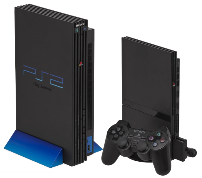 Left:  Original PlayStation 2, with vertical stand  Right:  Slimline PlayStation 2, with vertical stand, 8 MB memory card and DualShock 2 controller