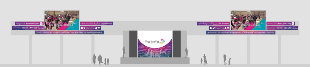 [above] Digital screen content and main stage backdrop.  [below] Tri-fold promotional flyer and 32-page event program.