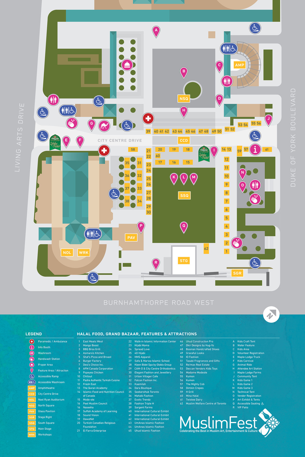 Custom illustrated venue map.