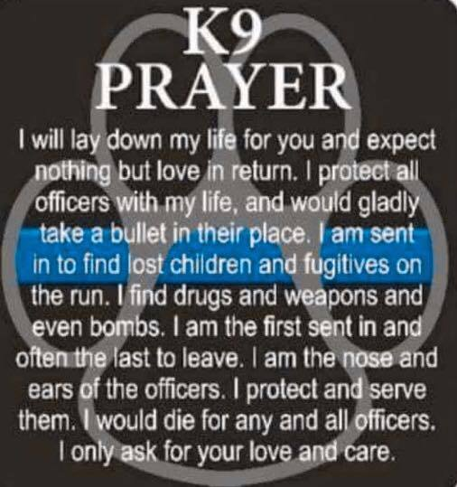 K9 Prayer via Tia Miller