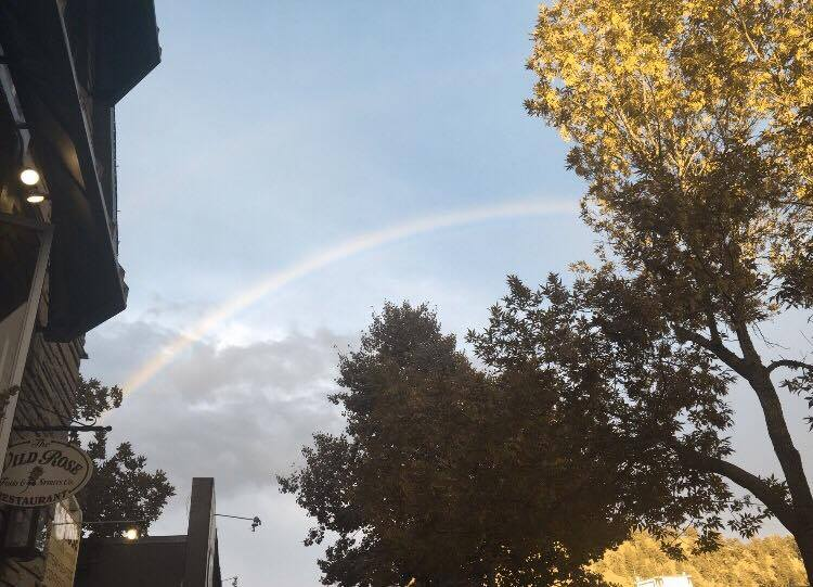 Amanda's friend Alex was on vacation near Estes. She told Amanda she saw a double rainbow. We didn't see that, but we did see this rainbow. Thanks Alex! We would not have looked up!