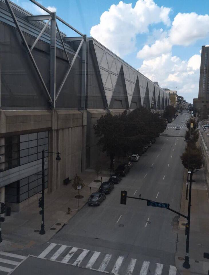 View from one of the windows at The Kansas City Convention Center where CVC took place