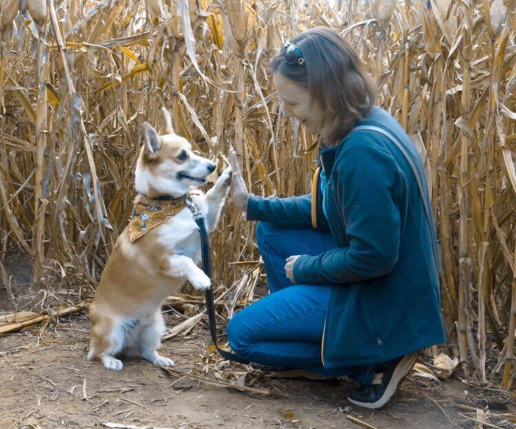 Toski and Mom agree on a plan to get out of the corn maze.