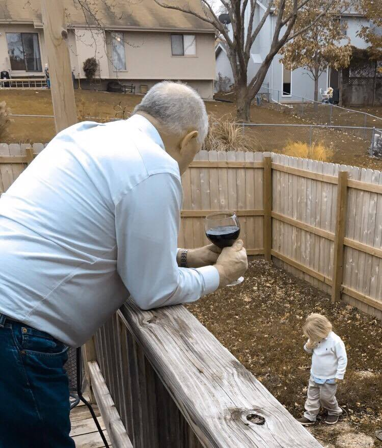 Uncle Bill and Henry outside.