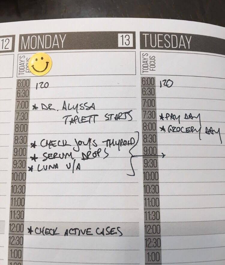 I got a happy face sticker each day I exercised. Yay me! I kept track of work things and home things and which hospital to show up at in the morning! (Usually 120 :)) And good days like when awesome coworkers started :)