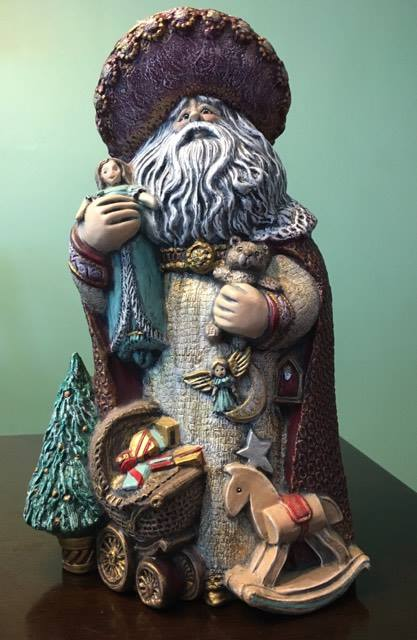 This is the ceramic Santa Janeen painted for Russ and me for our wedding gift. It is one of my favorite Christmas decorations, and sometimes I leave it out all year.
