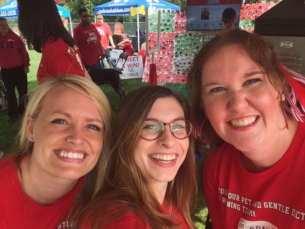Dr. Taplett, Hannah and Erika at Nebraska Humane Society's Walk for the Animals 2016