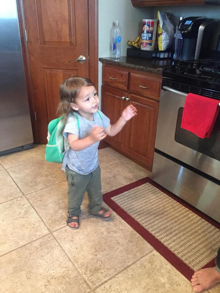 Robert packed his own bag. When we asked him what he had packed, he opened his backpack and shook it upside down - all toy cars and books. Good job Robert! His Mom packed the boring stuff for him in another bag.