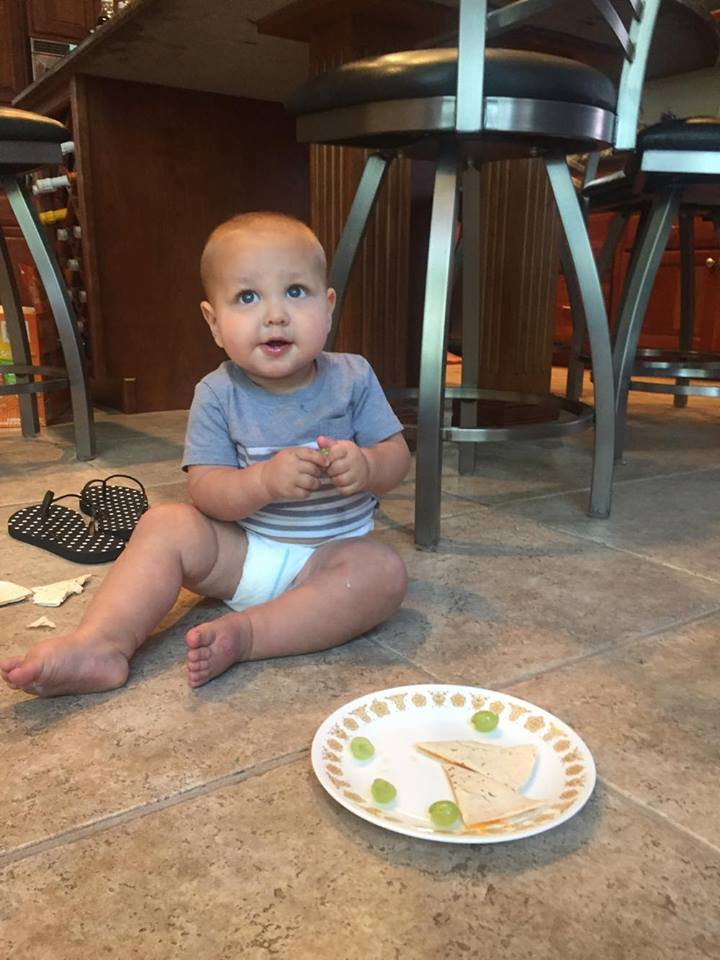 Arthur ate on the floor all week - it worked great! When you have good food, the more you can spread out, the better.