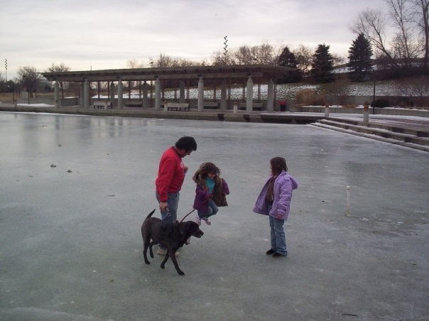 Russ and Abby and Amanda and Ebony at ConAgra Park in 2009
