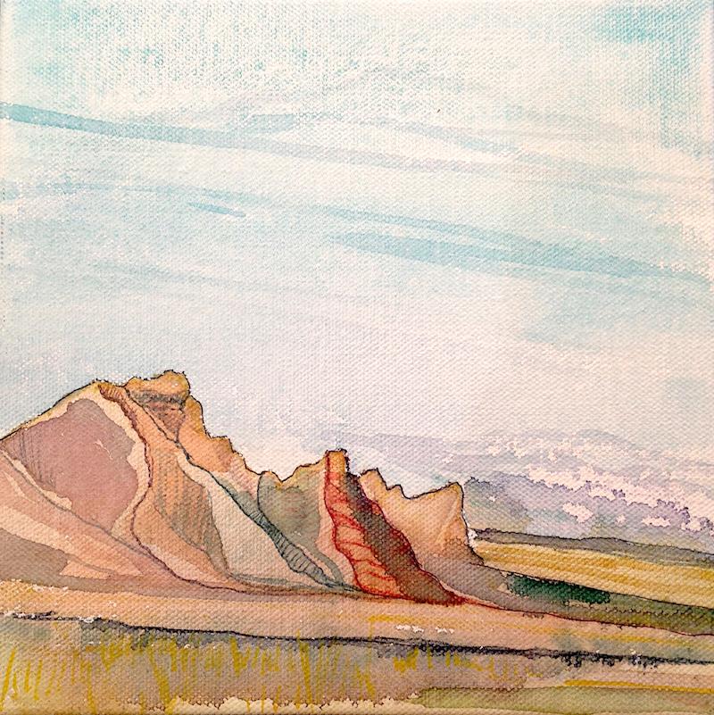 Badlands Summer - 8x8 - Watercolor on Canvas