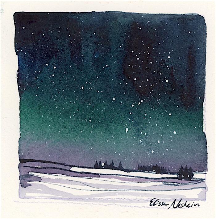 Snow Under Aurora