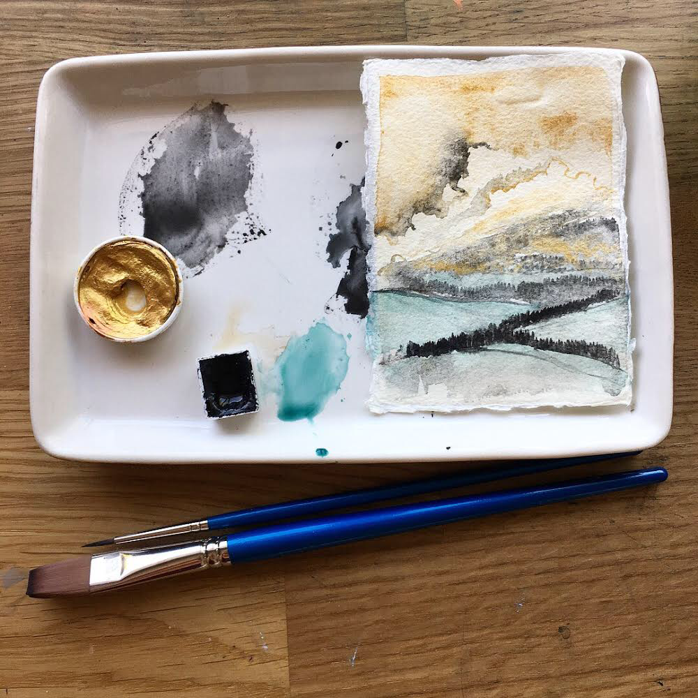 A few tools: Winsor & Newton brushes, Khadi Paper, Finetec Gold, Vine Black from Case for Making, and a dash of Veridian Green from QoR watercolors.