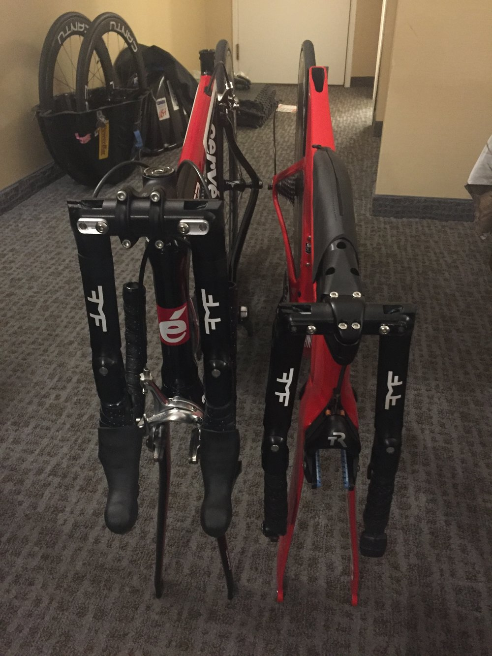 Getting the bikes ready to ship from Interbike - Doesn't get more compact than that!